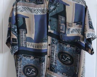 90's, button up, dress shirt, patterned, short sleeve