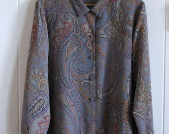 90's, paisley, grey blue, long sleeved, dress shirt, blouse