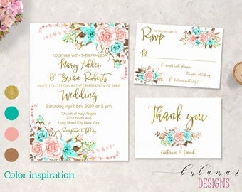 Mint Pink Wedding Invitation Suite Boho Aqua Blush Pink Roses Wedding Invite Set Gold Romantic Floral Digital Wedding Invitation - WS048