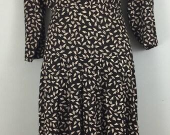 VINTAGE Dorothy Perkins black feather print tea dress UK 12/14