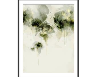 Green Abstract Print. Abstract Art. Green Art. Abstract Painting. Misty Morning. Abstract Art Print. Minimal Wall Art. Wall Decor.