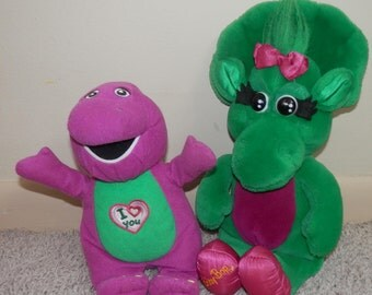 """barney purple dinosaur sing """" I LOVE you """" song plush 9"""" AND baby bop 13"""" 1992 vintage"""