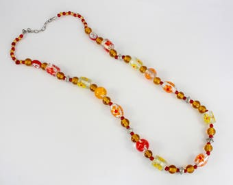 Vintage 70s Necklace, Glass Bead Necklace, Flower Bead Necklace, Lampwork Beads, Hippy Beads, Flower Power, Long Necklace, Chunky Beads