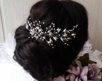 Bridal hair comb, Crown, Bridal hair vine, Crystals Bridal Wedding, Hairpiece Bridal Hair Vine, Wedding hair-vine, pearl hair vine 37