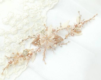 Rose gold Hair vine Flower Hair Piece Swarovski Crystal Bridal Hair Piece Wedding Hair Accessory