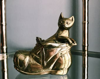 Vintage Brass Cat In Boot / Brass Cat + Shoe Paperweight