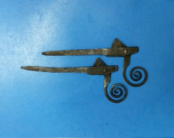 Antique Shutter Dogs, Wrought Iron Hinged-Spiral Latch Design, Pair of 2 Each, ca. 1820