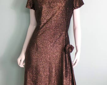 60s Gold Lame Party Dress with Bow, Copper Sparkle Short Sleeve Evening Dress with Pleated Side, Vintage Gold Volup Dress,43in Bust, X-Large