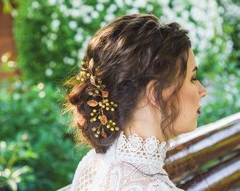 Fall Bridal hairpins Gold leaf hair pins Bridal ivory headpiece Wedding hair accessory Rustic Flower Botanical hairpiece Floral bobby Pins