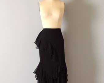 black silk gypsy mermaid skirt | ruffled cascade silk skirt | embroidered flowers maxi skirt