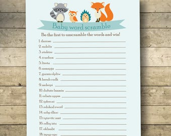 Woodland Baby Word Scramble, Baby Shower Games, Baby Shower Scramble, Baby Word Scramble Game, Woodland Baby Shower, Printable, Animal