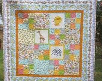 Handmade Quilt, Child's Quilt, Baby Quilt, Animal Quilt, Blanket
