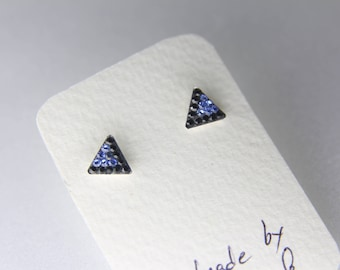 Sterling Silver Pave Radience Stud Earrings, Swarovsky Crystals, 7mm Side of Triangle, Black & Blue Color, Unique Korean Style Stud Earrings