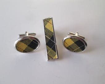 Plaid Mens Jewelry Set Vintage 1970s Cufflinks Tie Clip