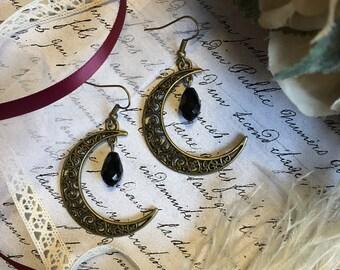 Crescent Moon Earrings, Crescent Moon Jewelry, Crescent Earrings, Celestial Earrings, Celestial Jewelry, Moon Earrings, Boho Earrings