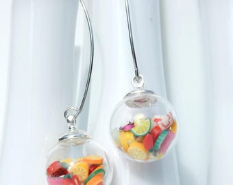 Long earrings / fruit salad