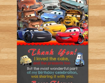 Disney Cars 3 Thank You Card - Chalkboard  - Disney Cars 3 Thanks - Cars Birthday Party Printables - New Cars Movie Thank You - Party Favors