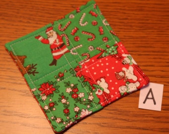 Christmas Fabric Coasters/Holiday Coasters/Quilted Xmas Coasters