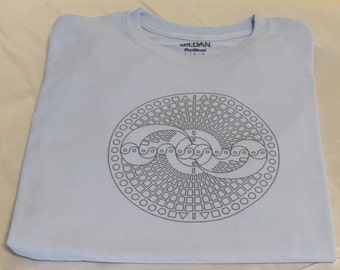 Blue abstract Shirt ~Ancient geometry symbol T Shirt~ Metatrons-cube Size LARGE