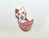 GLITTER Rose Gold Merkitten Hard Enamel Pin // Mermaid Cat Lapel Pin // Pastel Cat Pin Badge