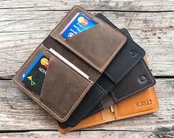 Credit card wallet Personalized leather wallet Mens leather wallet Slim wallet Front Pocket wallet  Minimalist wallet Groomsmen gift.