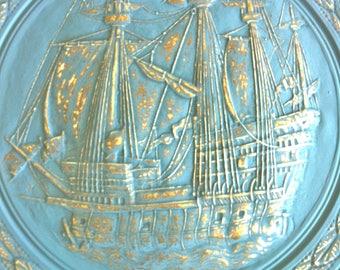 Large Brass Pirate Ship Wall Plate with Chalk Paint/Brass Ship Wall Plate/Brass Ship Wall Hanging/Beach Wall Decor/Nautical Wall Decor/Ships