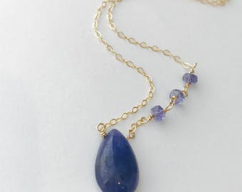 Tanzanite Necklace Tanzanite Jewelry December Birthstone Gemstone Necklace Dainty Nacklace Layering Necklace Healing Necklace Boho Necklace