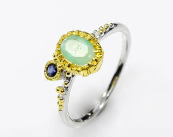 Genuine emerald ring, green ring, May September birthstone ring, cocktail ring, ocean ring, two tone ring, birthday gifts push present