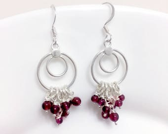 Hoop earrings, Garnet Earrings January Birthstone, red jewelry wife, Circles, personalized gifts for boho women, jewelry for bridesmaids
