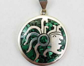 Aztec dragon jewelry mayan necklace dragon aztec pendant vintage 925 sterling silver round mayan or aztec pendant w turquoise inlay made in mozeypictures Images
