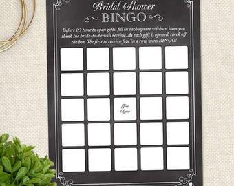 Printable Chalkboard Bridal Shower Bingo Game Card, JPG Instant Download (not editable)