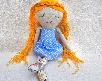 Princess doll, Rag doll, fabric doll, cloth doll, handmade doll, embroidered face, Poupée de chiffon