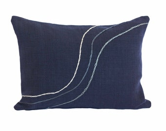 """Hand Embroidered Linen Throw Pillow - """"Undulate"""" in Navy - 16""""x12"""""""