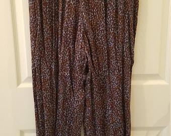 Saint Tropez Wear Elastic Waist Brown & Turquoise Pants by Carole Little