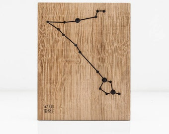 Zodiac - Pisces Constellation Picture - Wooden handmade - Woodworking - Wood - Sign - Wall Art- Custom - Personalized - Gift - 21 cm x 29 cm