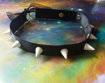 Black Ribbon Choker with White spikes- Ribbon tie collar/choker