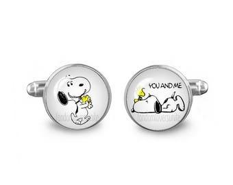 Snoopy Cuff Links Woodstock Cuff Links 16mm Cufflinks Gift for Men Groomsmen Novelty Cuff links Fandom Jewelry