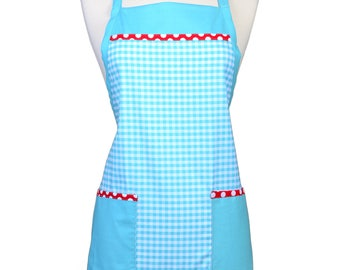 Womens Ruffled Apron Cute Riley Blake Aqua Gingham and Red Polka Dots Retro Traditional with Large Pockets and Adjustable Neck Ties