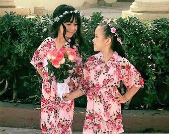 ADD CUSTOMIZATION! Children's Cotton Robes, Girl's Floral Robes, Easter Basket Filler, Toddler Girl Gift, Wedding Robe For Kid