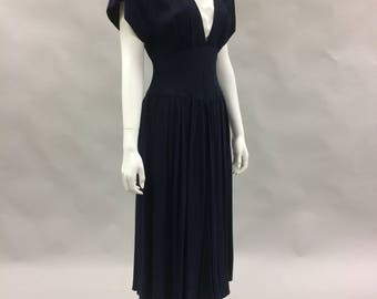 1980s does 1940s Small Navy and White Dress with Lace | Cinched Waist | Full skirt | Size 4-6 | Fancy Dress