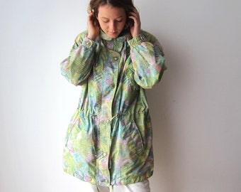 Vintage Womens Windbreaker Lightweight Parka Jacket Patterned Hipster Jacket Size Medium Outdoor Jacket
