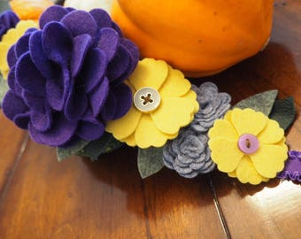 Felt Flower Crown, Purple, Yellow, Grey