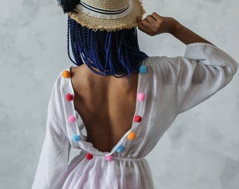 Cotton kaftan with pompons| Short summer dress | summer dress with pompons