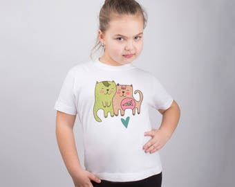 Cat Shirt Cat's Love Shirt Animal Print Funny Kids Tee Shirt Printed Shirt Childs Tee Graphic Tee Design Shirt Youth Childs T Shirt PA1110