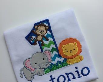 Jungle first birthday shirt - first birthday shirt - safari birthday shirt - elephant lion monkey shirt - Zoo birthday shirt - animal shirt