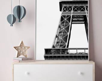 Floating Shelf Decor, Eiffel Tower Print, Paris Architecture, Black and White, Paris Photo, Eiffel Tower Picture, Office Photo Art