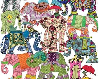 Elephant kitchen towel - printed tea towel - cotton dish towel - boho chic - bohemian kitchen towels. Elephants Parade tea towel.