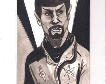 "EVIL SPOCK from Star Trek OS ""Mirror, Mirror"" 4"" x 6"" ink wash drawing"