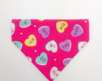 "Over the collar (slide on)  Pet Bandana - Size SMALL -  ""Conversation Hearts"" pet bandana"