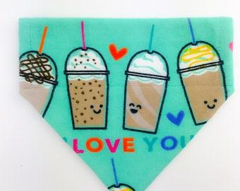 "Flannel Over the collar (slide on)  Pet Bandana - Size SMALL - ""Love You A Latte"" pet bandana"